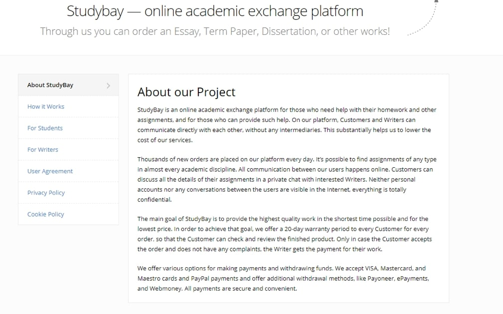 About the project Studybay